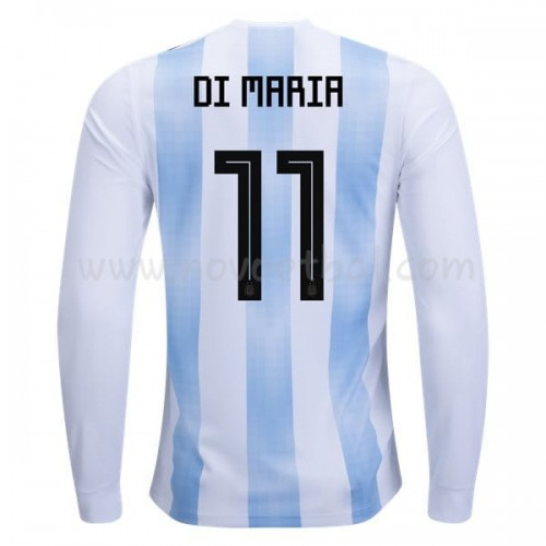 Argentina 2018 Di Maria 11 Long Sleeve Home Soccer Jersey