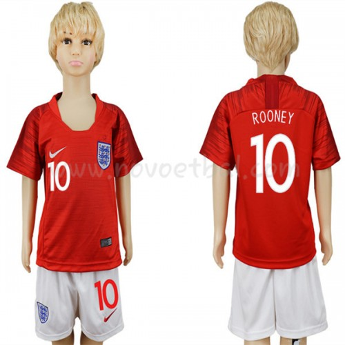 England Kids 2018 World Cup Wayne Rooney 10 Short Sleeve Away Soccer Jersey