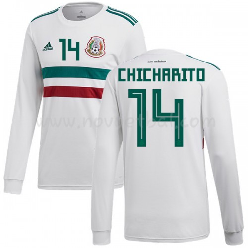 Mexico 2018 Chicharito 14 Long Sleeve Away Soccer Jersey