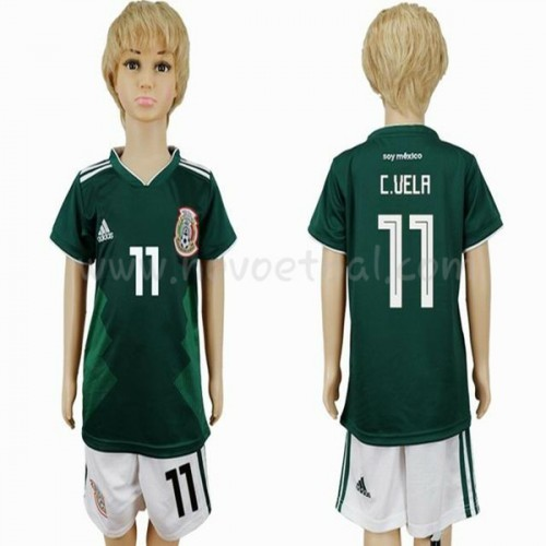 Mexico Kids 2018 World Cup Carlos Vela 11 Short Sleeve Home Soccer Jersey