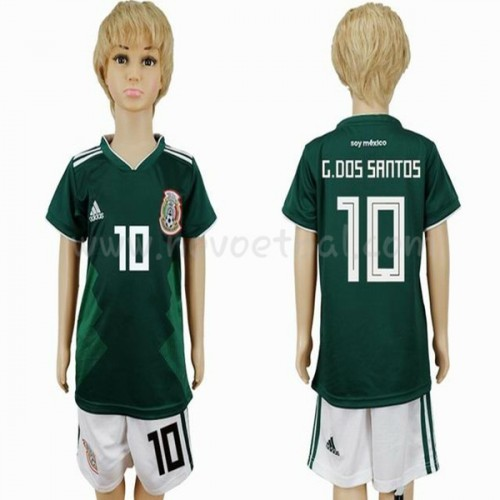 Mexico Kids 2018 World Cup G. dos Santos 10 Short Sleeve Home Soccer Jersey