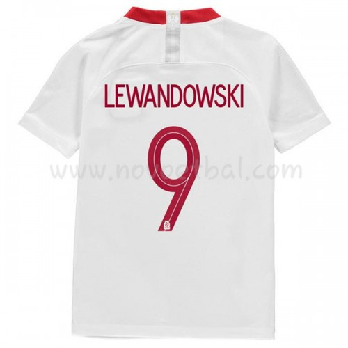 Poland Kids 2018 World Cup Robert Lewandowski 9 Short Sleeve Home Soccer Jersey