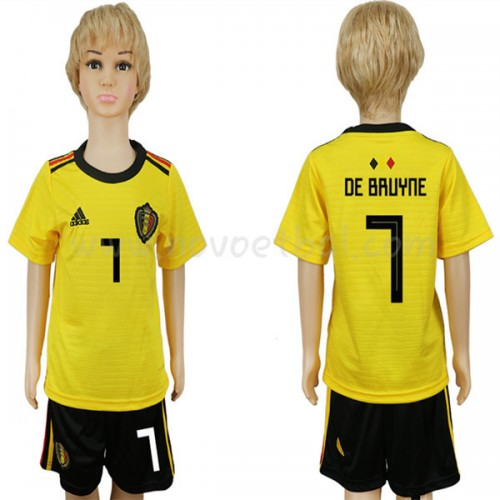 Belgium Kids 2018 World Cup De Bruyne 7 Short Sleeve Away Soccer Jersey
