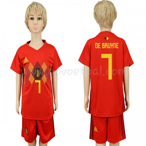 Belgium Kids 2018 World Cup De Bruyne 7 Short Sleeve Home Soccer Jersey
