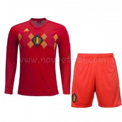 Belgium Kids 2018 World Cup Long Sleeve Home Soccer Jersey