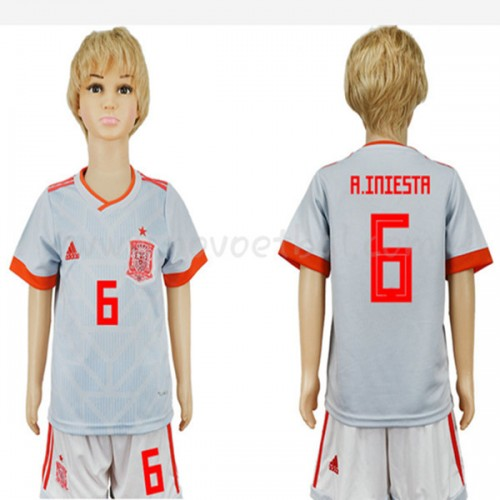 Spain Kids 2018 World Cup A. Iniesta 6 Short Sleeve Away Soccer Jersey