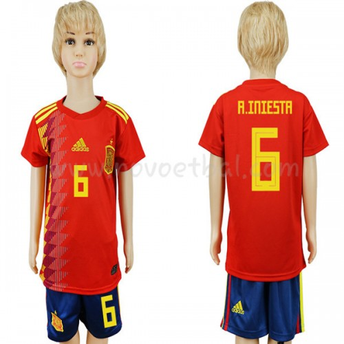 Spain Kids 2018 World Cup A Iniesta 6 Short Sleeve Home Soccer Jersey