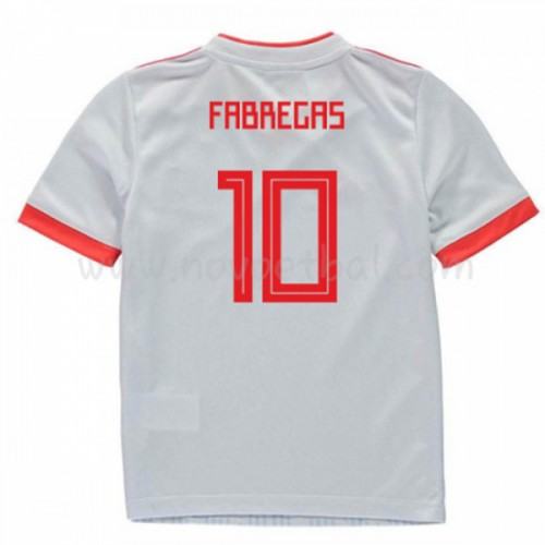 Spain Kids 2018 World Cup Francesc Fabregas 10 Short Sleeve Away Soccer Jersey