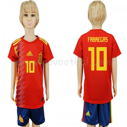Spain Kids 2018 World Cup Francesc Fabregas 10 Short Sleeve Home Soccer Jersey